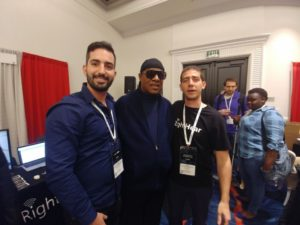 Stevie Wonder at our booth with our founders Gil and Idan.