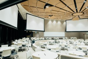 photo of empty room with projector screen