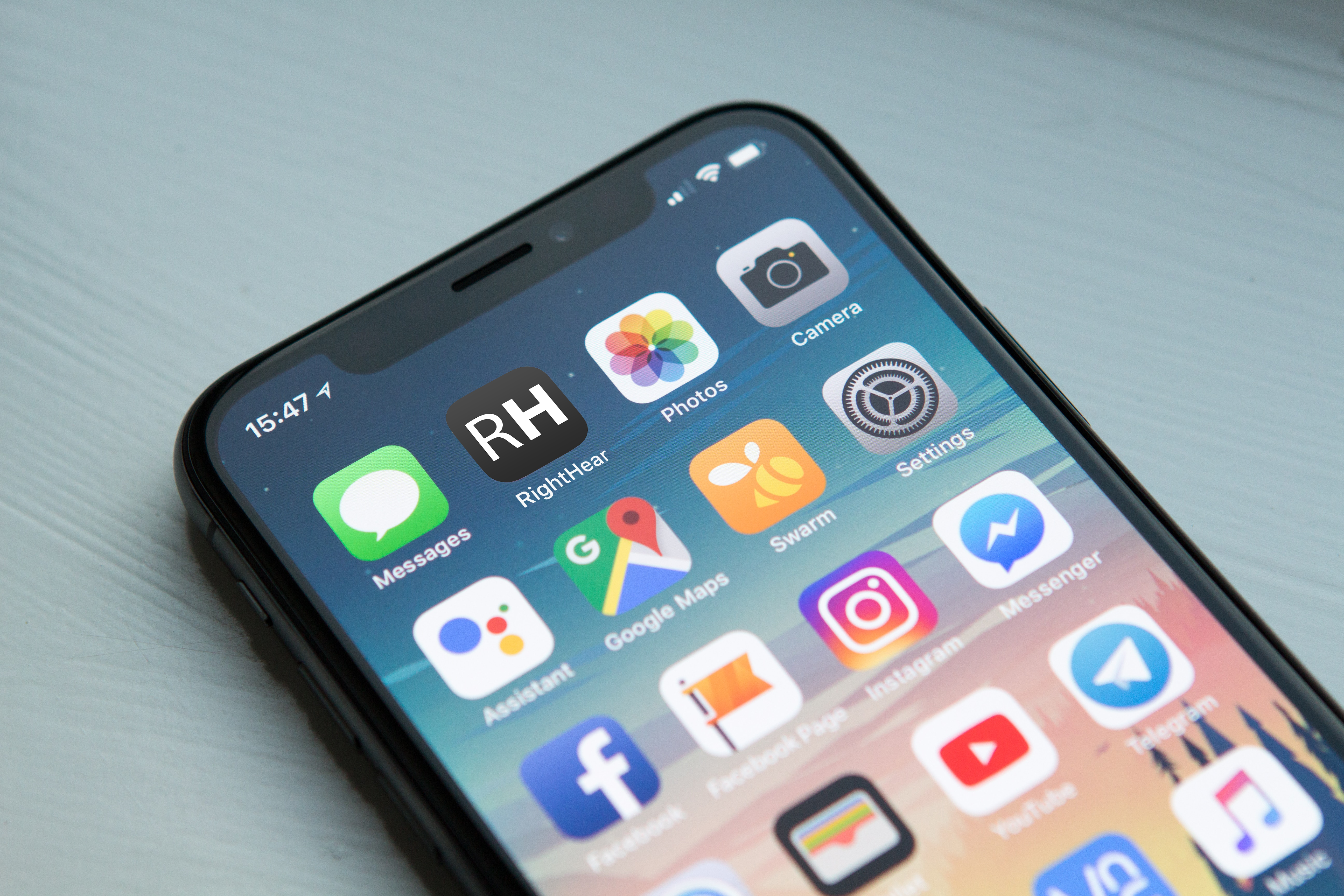 Different apps on an iPhone screen